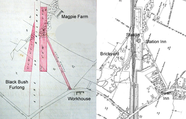 Plans of the Station Road area in 1849 and 1880
