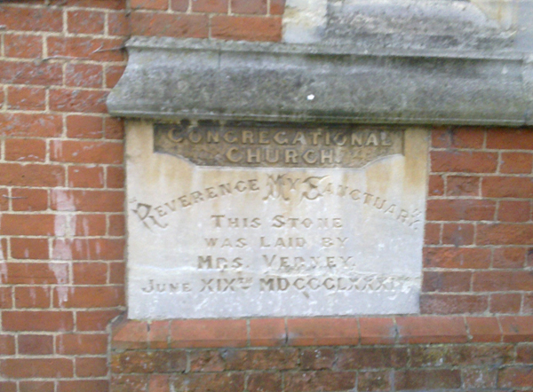 Plaque: stone laid by Mrs Verney