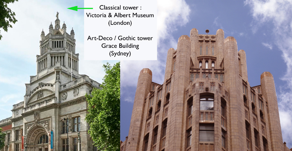 Towers from V&A Museum and Grace Brothers