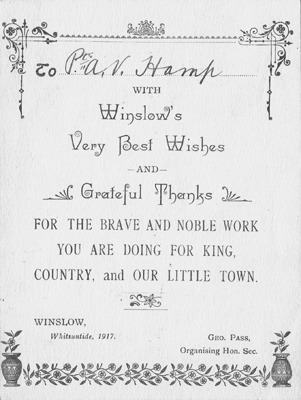 Printed card sent to troops, Whitsun 1917