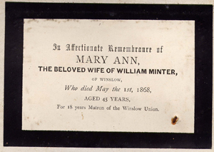 Mourning card for Mary Ann Minter