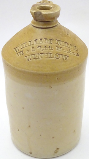 Stoneware flagon with name of William Neal