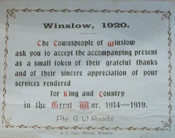 Printed acknowledgment to C.W. Roads