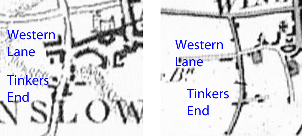Tinkers End on 1770 and 1825 maps