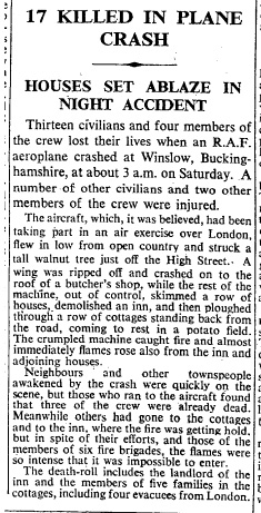 Report from The Times, 9 August 1943
