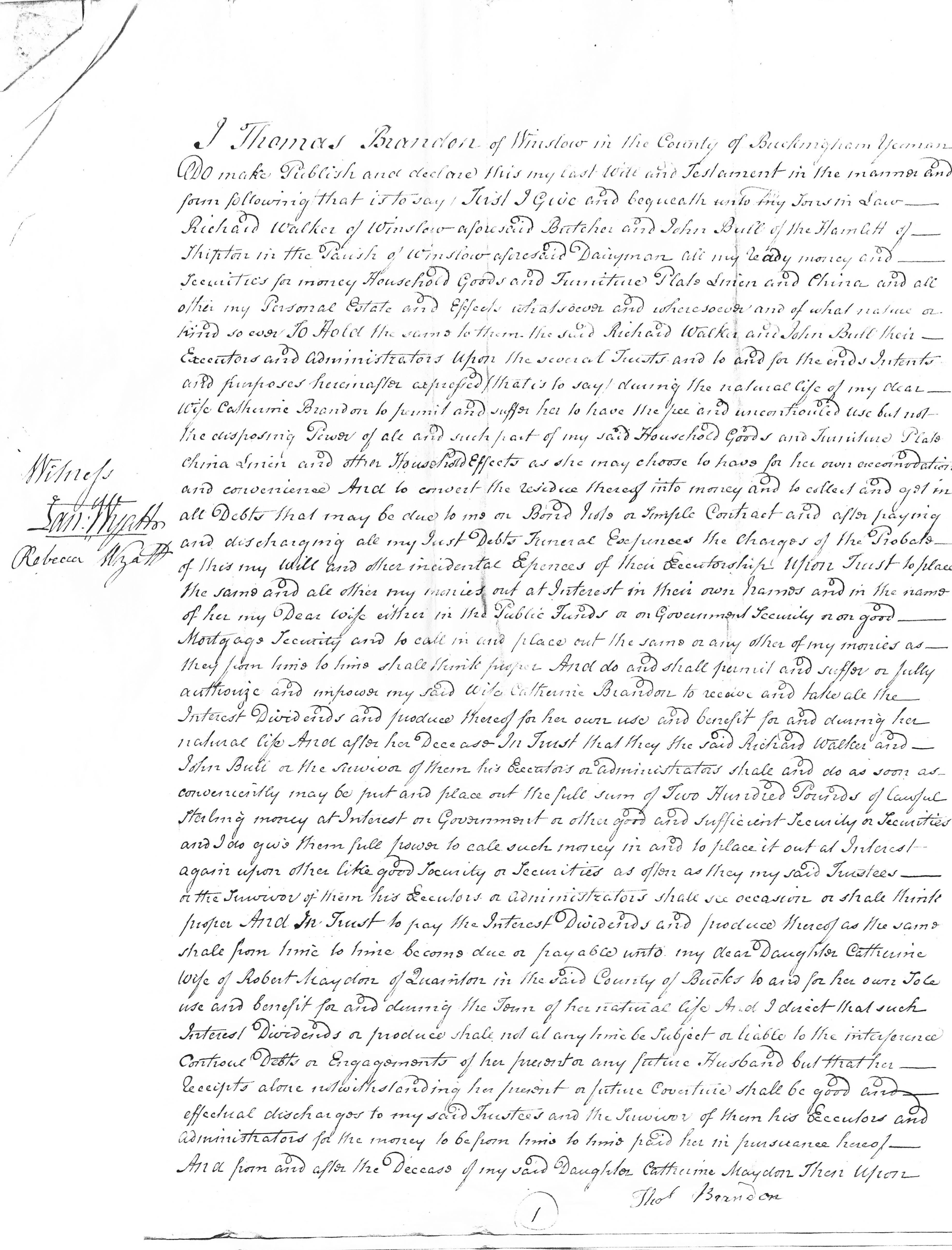 Will of Thomas Brandon p1
