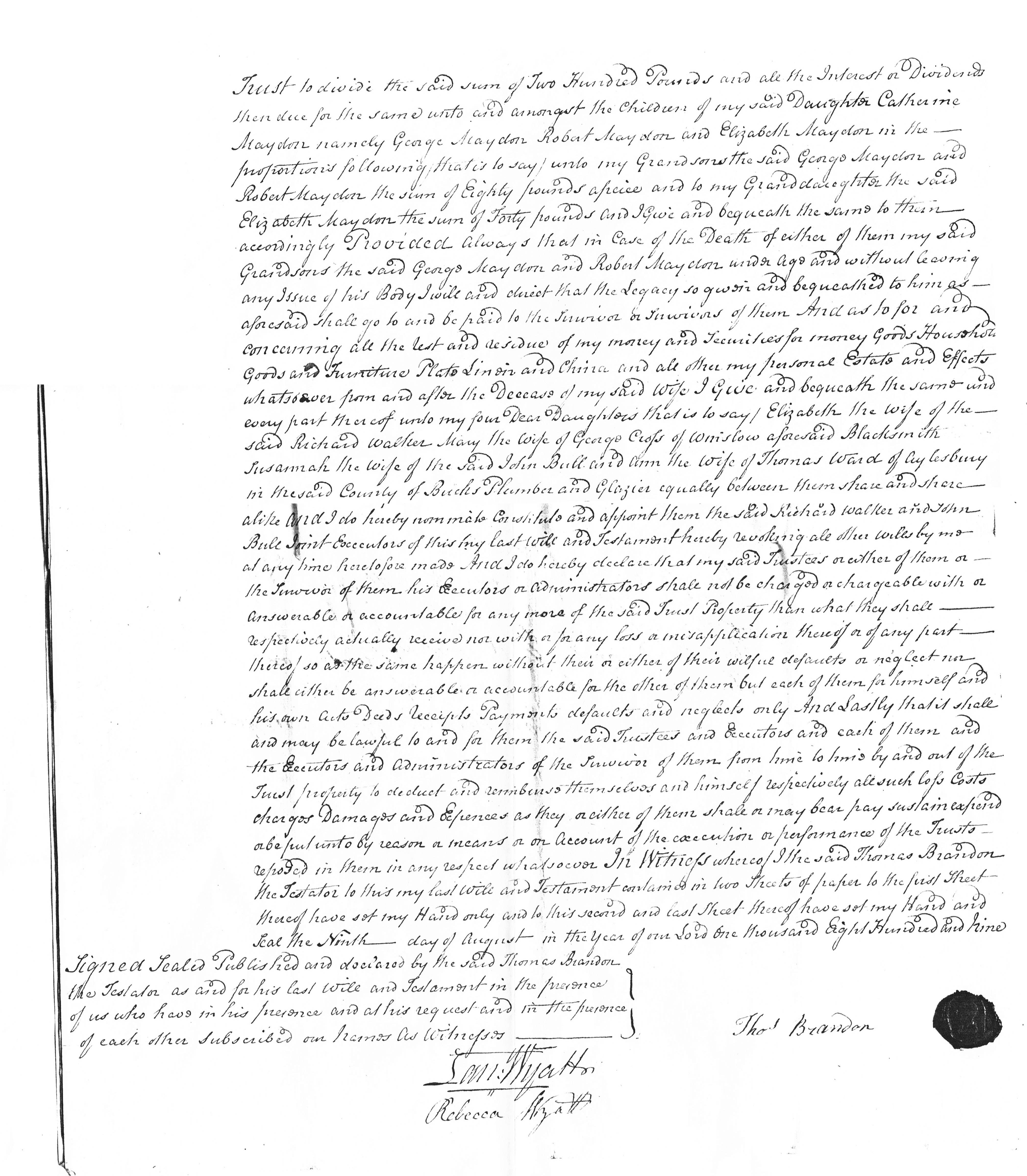 Will of Thomas Brandon p2