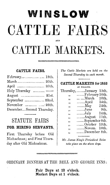 Advert for cattle fairs and markets, 1853
