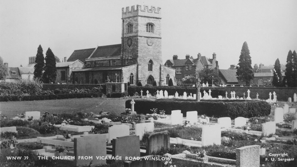 Postcard of the church and new churchyard