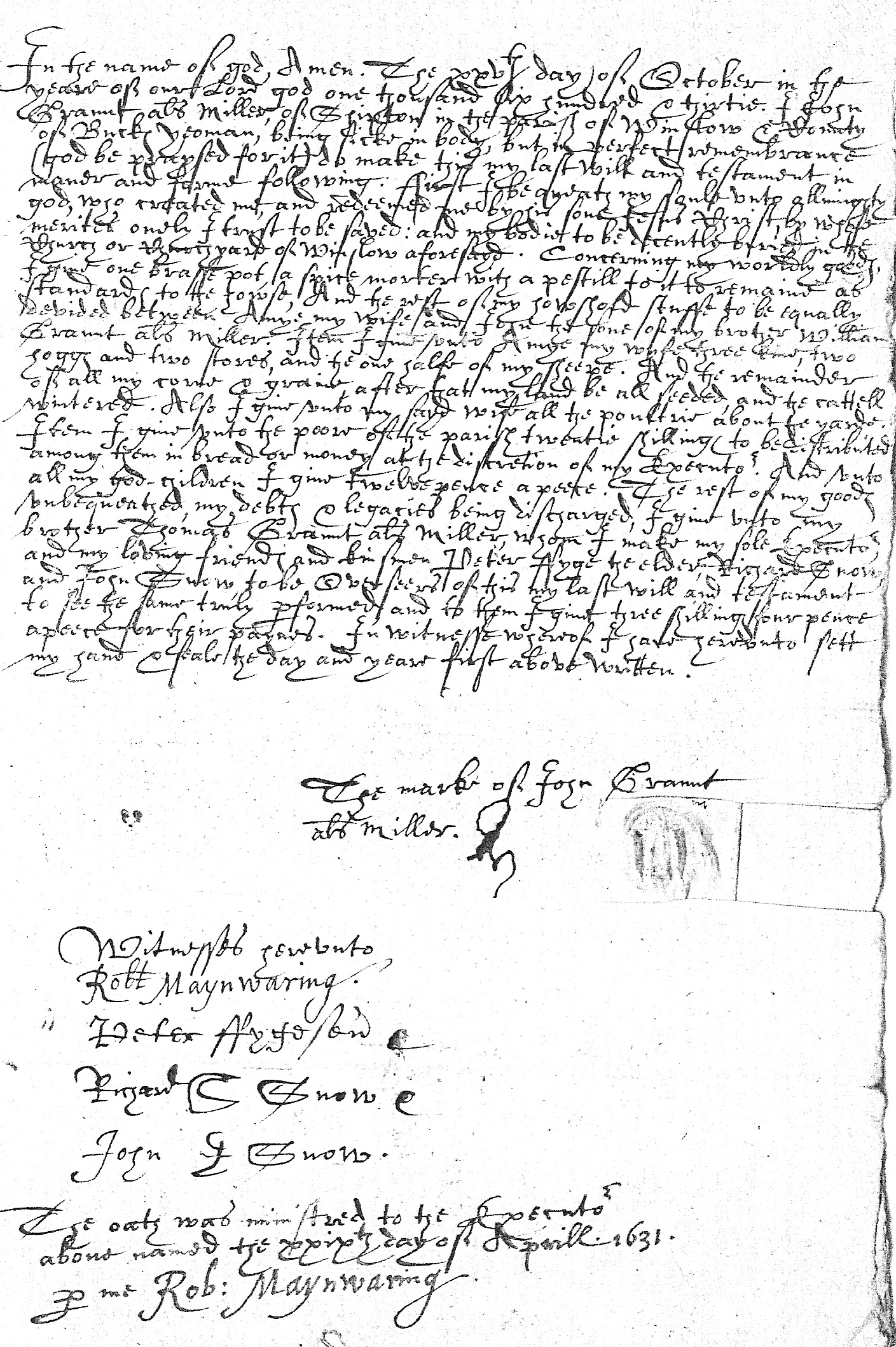 Will of John Graunt alias Miller
