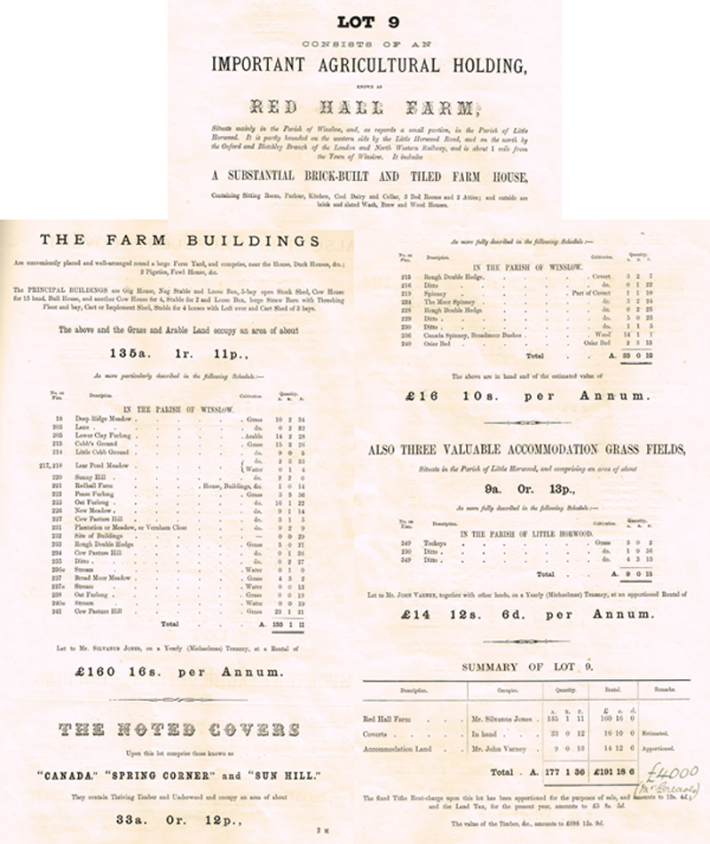 Red Hall Farm in 1897 sale catalogue