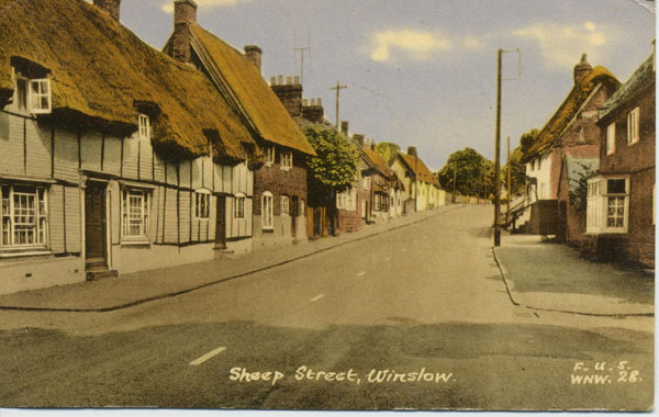Colour postcard of Sheep Street