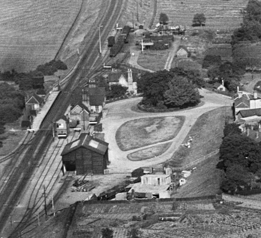 Aerial view of the station and sidings