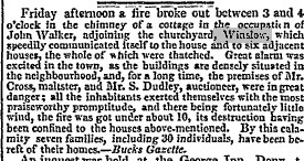 Newspaper cutting about fire 1833